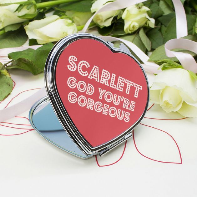 You're Gorgeous! Personalised Heart Compact Mirror